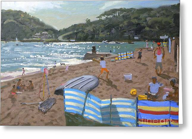 Cricket Paintings Greeting Cards - Cricket Teignmouth Greeting Card by Andrew Macara