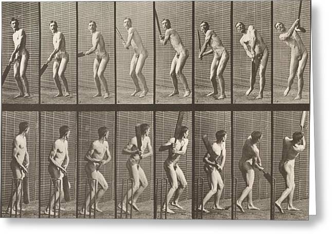 Sequential Greeting Cards - Cricketer Greeting Card by Eadweard Muybridge
