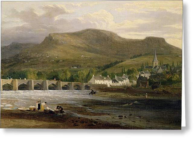 Brecon Beacons Greeting Cards - Crickhowell, Breconshire, C.1800 Oil On Canvas Greeting Card by English School