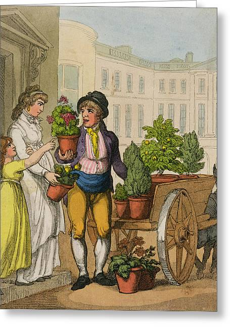 Selection Greeting Cards - Cries Of London The Garden Pot Seller Greeting Card by Thomas Rowlandson
