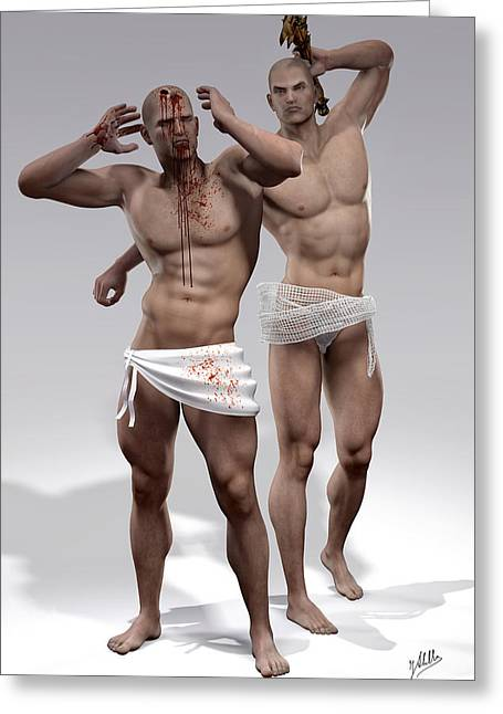 Cain Greeting Cards - Cain and Abel By Quim Abella Greeting Card by Joaquin Abella