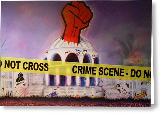 Fist Pump Greeting Cards - Crime Scene Do Not Cross Greeting Card by Justin Malangoni