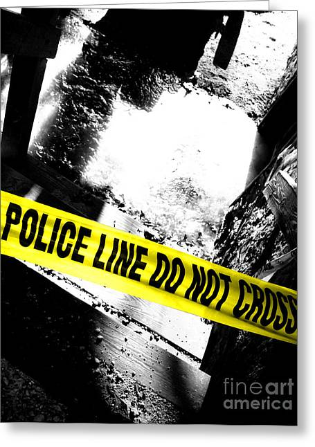 Law Enforcement Greeting Cards - Crime Scene Greeting Card by Olivier Le Queinec