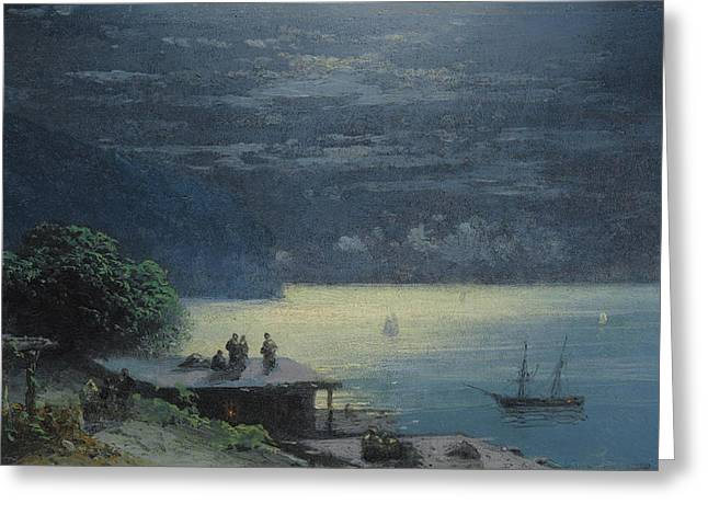 Ivan Greeting Cards - Crimean Coast By Moonlight Greeting Card by Ivan Konstantinovich Aivazovsky