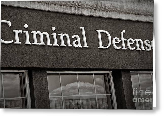 Defendant Greeting Cards - Criminal Defense Law Practice Greeting Card by Phil Cardamone