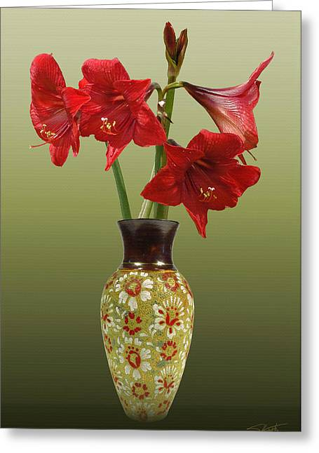 Crimson Lilies Greeting Cards - Crimson Amaryllis in Tall Vase Greeting Card by Schwartz