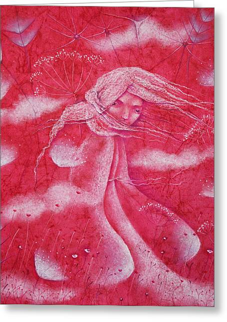 Windy Pastels Greeting Cards - Crimson Greeting Card by Anna Petrova