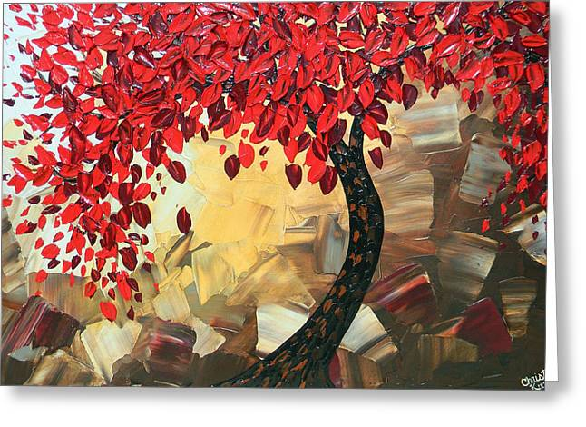 Artist Christine Krainock Greeting Cards - Crimson Beauty Greeting Card by Christine Krainock