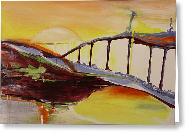 Pamela Cooper Paintings Greeting Cards - Crimson Bridge Over Blue Waters Greeting Card by Pamela Cooper