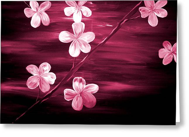 Mark Moore Greeting Cards - Crimson Cherry Blossom Greeting Card by Mark Moore