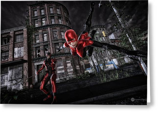 Heroic Red Men Greeting Cards - Crimson Duo Greeting Card by Todd and candice Dailey