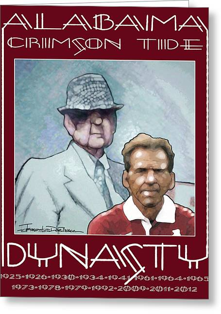 Bear Bryant Drawings Greeting Cards - Crimson Dynasty Greeting Card by Jerrett Dornbusch