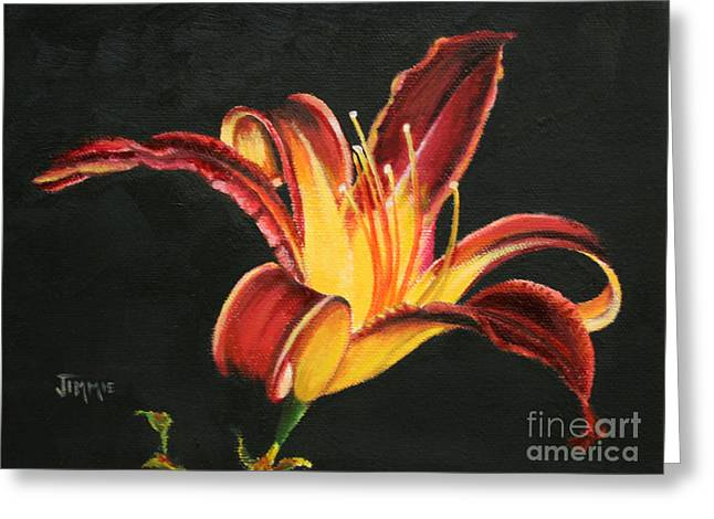 Crimson Lilies Greeting Cards - Crimson Lily Greeting Card by Jimmie Bartlett