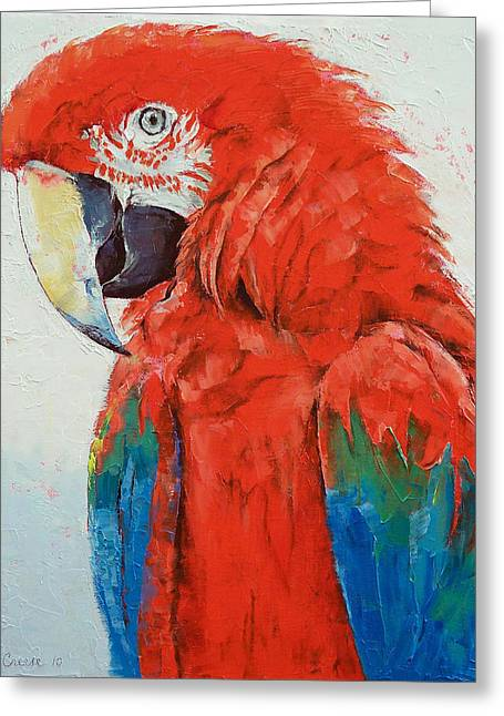 Crimson Greeting Cards - Crimson Macaw Greeting Card by Michael Creese