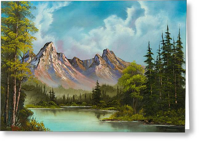 Bob Ross Paintings Greeting Cards - Crimson Mountains Greeting Card by C Steele