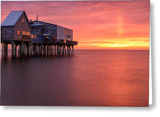 Maine Beach Greeting Cards - Crimson Pier Greeting Card by Michael Blanchette