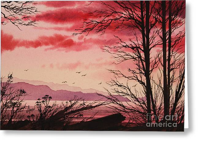 Sunset Prints Greeting Cards - Crimson Shore Greeting Card by James Williamson