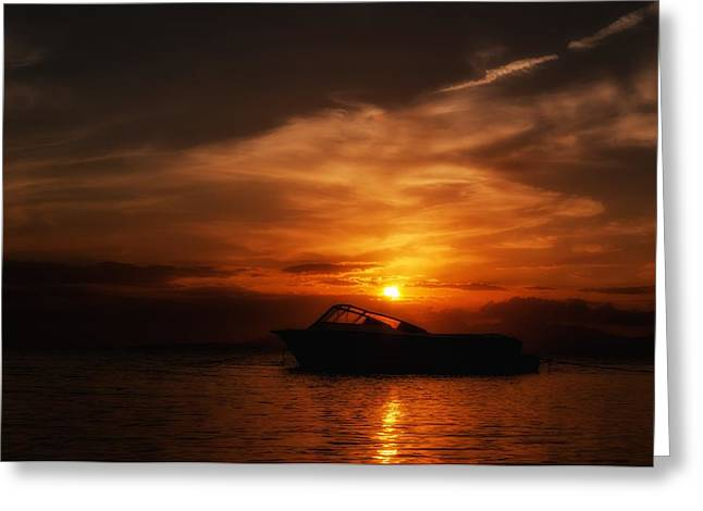 Ocean. Reflection Greeting Cards - Crimson Sunset Greeting Card by Mountain Dreams