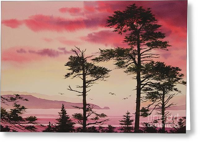 Sunset Framed Prints Greeting Cards - Crimson Sunset Splendor Greeting Card by James Williamson