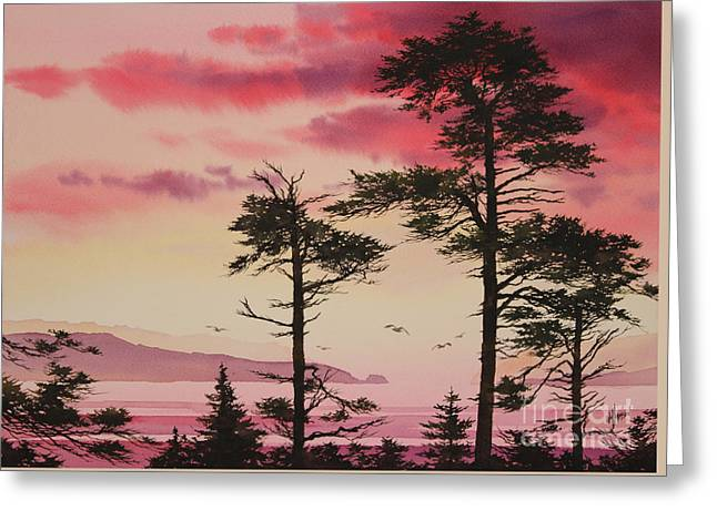 Sunset Greeting Cards Paintings Greeting Cards - Crimson Sunset Splendor Greeting Card by James Williamson