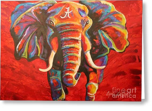 Roll Tide Paintings Greeting Cards - Crimson Tide Elephant Greeting Card by Cyndi Eastburn