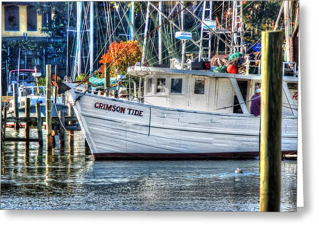 Alabama Crimson Tide Greeting Cards - Crimson Tide in Harbor Greeting Card by Michael Thomas