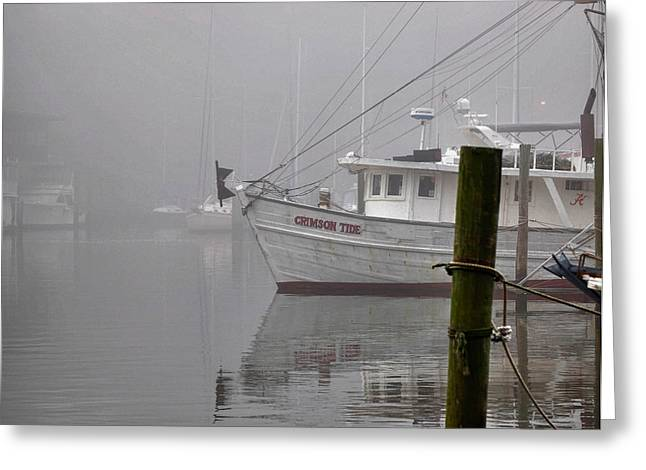 Crimson Tide Digital Art Greeting Cards - Crimson Tide in the Mist Greeting Card by Michael Thomas