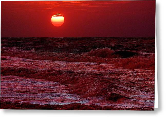 Crimson Tide Digital Art Greeting Cards - Crimson Tide Sunrise Greeting Card by Michael Thomas
