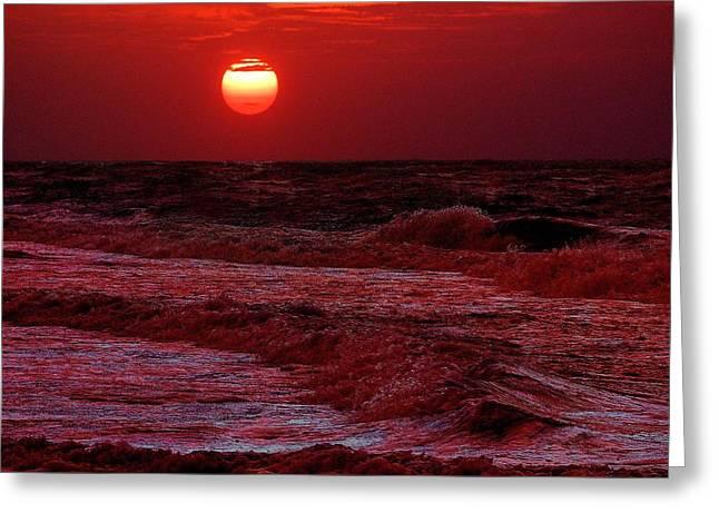 Crimson Tide Greeting Cards - Crimson Tide Sunrise Greeting Card by Michael Thomas