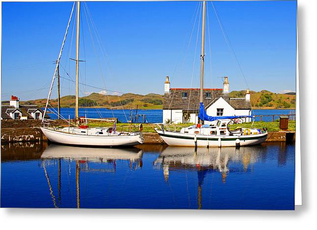 Sailboats Docked Greeting Cards - Crinan Canal Greeting Card by Craig B