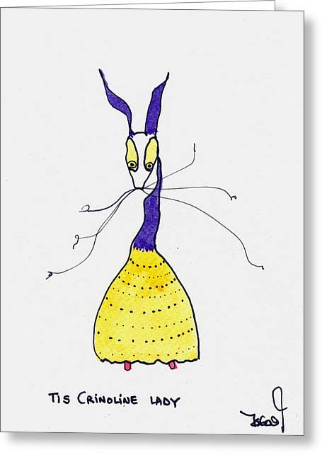 Crinoline Greeting Cards - Crinoline Lady Greeting Card by Tis Art