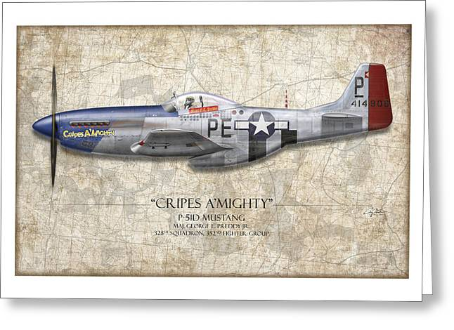 P51 Mustang Greeting Cards - Cripes A Mighty P-51 Mustang - Map Background Greeting Card by Craig Tinder