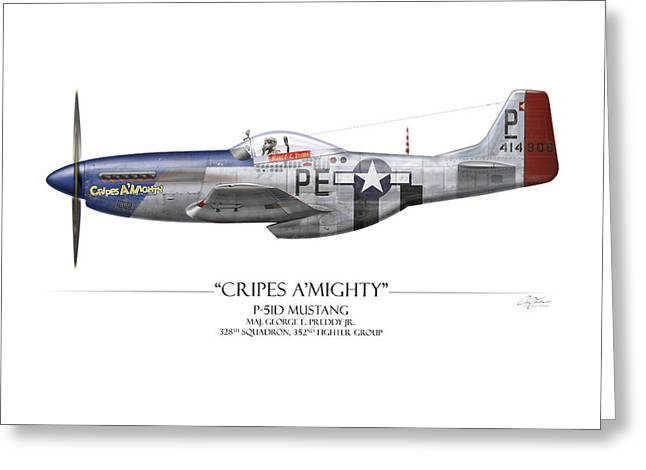Aircraft Artwork Greeting Cards - Cripes A Mighty P-51 Mustang - White Background Greeting Card by Craig Tinder