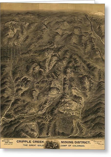 Birdseye Greeting Cards - Antique Map - Cripple Creek Mining District Birdseye Map - 1895 Greeting Card by Eric Glaser
