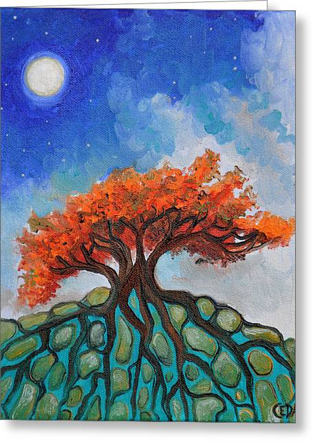 Tree Roots Greeting Cards - Crisp Autumn Night Greeting Card by Cedar Lee