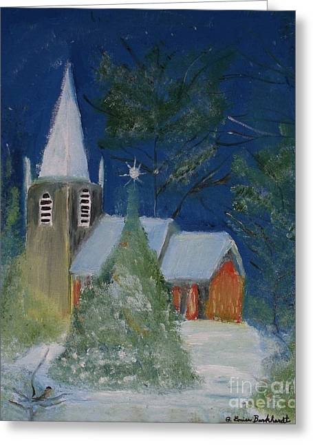 Crisp Holiday Night Greeting Card by Louise Burkhardt