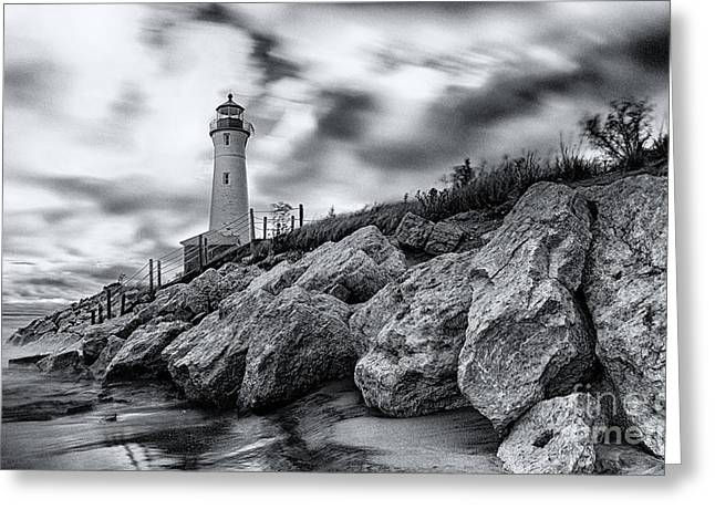 Crisp Greeting Cards - Crisp point lighthouse Greeting Card by Todd Bielby
