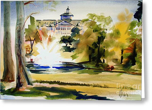 Escape Mixed Media Greeting Cards - Crisp Water Fountain at the Baptist Home II Greeting Card by Kip DeVore