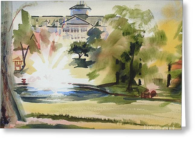 Crisp Water Fountain at the Baptist Home III Greeting Card by Kip DeVore