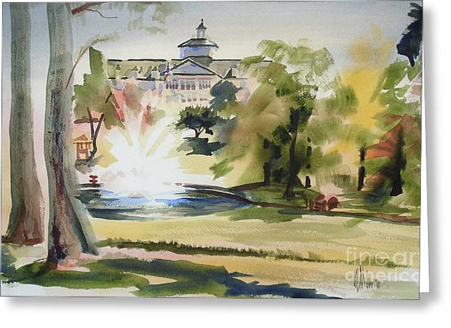 Early Autumn Greeting Cards - Crisp Water Fountain at the Baptist Home  Greeting Card by Kip DeVore