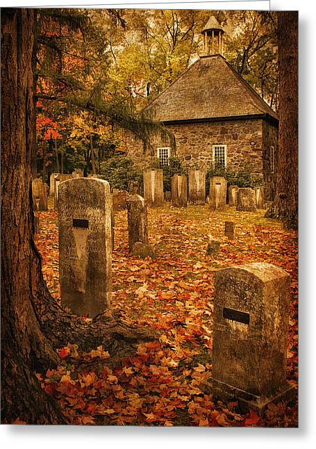 Fall Scenes Greeting Cards - Crispsell Memorial French Church  Greeting Card by Priscilla Burgers