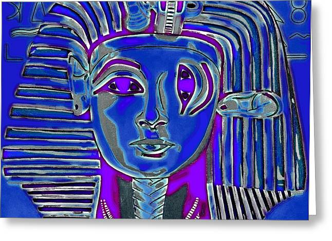 Sphynx Cat Portrait Greeting Cards - Criss Cross Tut Blue Greeting Card by Joe Ciccarone