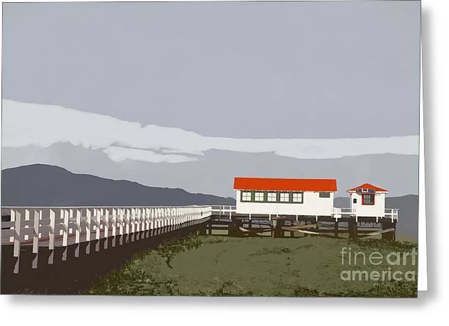 Red-roofed Buildings Greeting Cards - Crissy field Greeting Card by Elena Nosyreva