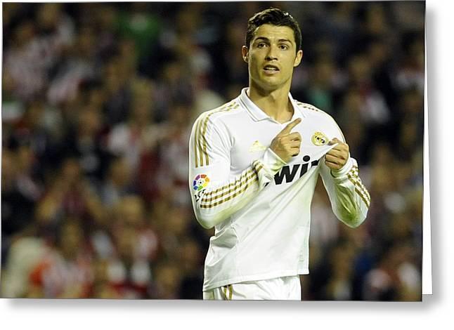 Futbol Greeting Cards - Cristiano Ronaldo 4 Greeting Card by Rafa Rivas