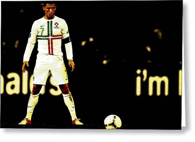 Super Real Greeting Cards - Cristiano Ronaldo Focus Greeting Card by Brian Reaves