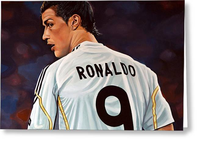 Team Paintings Greeting Cards - Cristiano Ronaldo Greeting Card by Paul Meijering