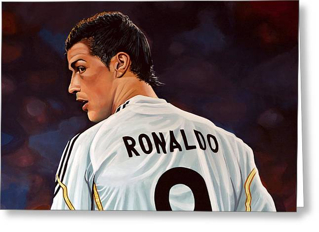 League Greeting Cards - Cristiano Ronaldo Greeting Card by Paul Meijering
