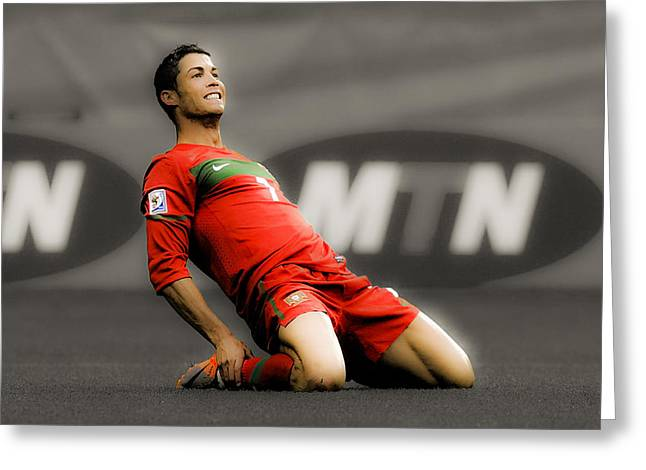 Super Real Greeting Cards - Cristiano Ronaldo Ready to Go Greeting Card by Brian Reaves