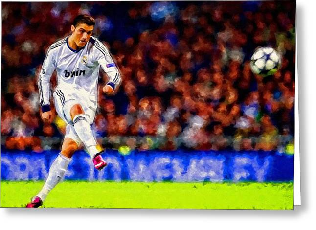 Soccer Framed Prints Greeting Cards - Cristiano Ronaldo Soccer Football Art Painting Landscape Greeting Card by Andres Ramos