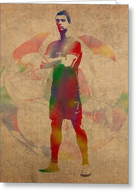 Cristiano Ronaldo Soccer Football Player Portugal Real Madrid Watercolor Painting On Worn Canvas Greeting Card by Design Turnpike